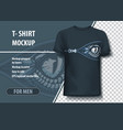 t-shirt mock-up template with open zipper and vector image