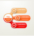 three elements banner 3 steps design chart vector image vector image