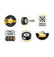 tires shop and services icons set poster with car vector image vector image