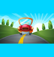 travel cartoon road landscape vector image
