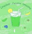vegetable smoothie in a glass with a straw and vector image