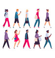 walking people men and women profile side view vector image