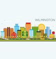 wilmington skyline with color buildings and blue vector image