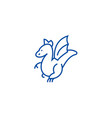 winged dragon line icon concept winged dragon vector image