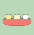 yellow to white tooth - teeth whitening vector image