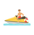 male lifeguard in red shorts driving by water vector image