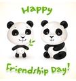 Cute little pandas friends vector image