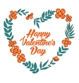 Happy Valentines Day floral heart card Vintage vector image