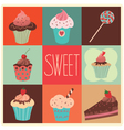 Set of sweet cupcakes vector image
