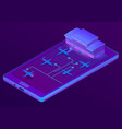 3d isometric smartphone - booking of vector image vector image