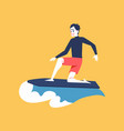 a man surfer rides in wave and surfs vector image vector image