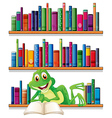 A smiling frog reading a book vector image