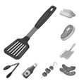 barbecue and equipment monochrome icons in set vector image vector image