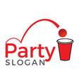 beer pong party logo design vector image vector image