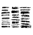 black ink grunge brush set strokes on white vector image vector image