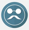 bowler hat and moustache on white circle with a vector image vector image