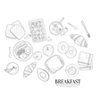 Breakfast Food Isolated Drawings Set Hand Drawn vector image vector image