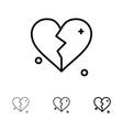 broken love heart wedding bold and thin black vector image vector image