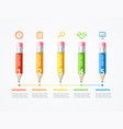 business infographic color wooden pencil banner vector image vector image