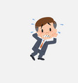 businessman very alarmed takes the hands to the vector image