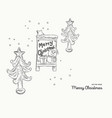 christmas hand drawn set vector image vector image