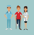 color background with man on crutches and team vector image vector image