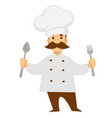 cook or chef in uniform with spoon and knife vector image