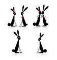 couples of rabbits black silhouette vector image vector image