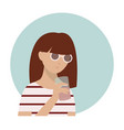 cute girl in striped top and sunglasses drinking vector image vector image