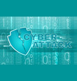 cyber attack background with broken shield vector image vector image