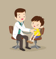doctor is seeing a small boy vector image vector image