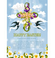 easter crucifix cross flowers poster vector image vector image