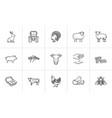 farm animals hand drawn sketch icon set vector image