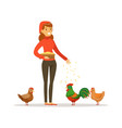farmer woman feeding chickens poultry breeding vector image vector image