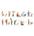 fatherhood retro cartoon icons set vector image vector image