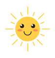 Flat design smiling cartoon sun vector image vector image