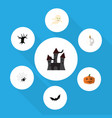 flat icon halloween set of fortress terrible vector image vector image