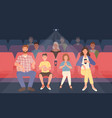 happy family sitting in movie theater or cinema vector image vector image