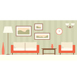 Interior of a modern minimalistic living room flat vector image vector image
