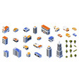 isometric city kit 3d buildings low poly vector image