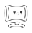 kawaii computer icon vector image
