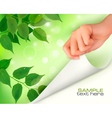 nature green background with hand vector image vector image
