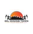 petroleum mining city logo vector image vector image