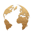Relief world globe from texture paper vector image