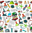 school or science items seamless pattern vector image vector image
