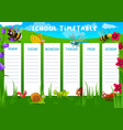 school timetable with meadow and insects vector image