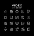 set line icons video vector image vector image