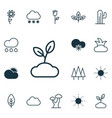 set of 16 landscape icons includes plant cloud vector image vector image