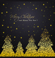 shiny golden winter trees greeting card vector image vector image
