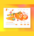 social media isometric landing page template vector image vector image